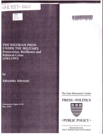 The Nigerian Press Under the Military - Joan Shorenstein Center on ...
