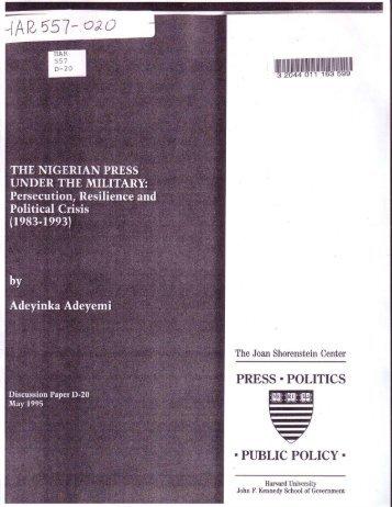 The Nigerian Press Under the Military - Joan Shorenstein Center on ...
