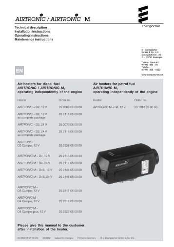 Eberspacher D4 installation Manual