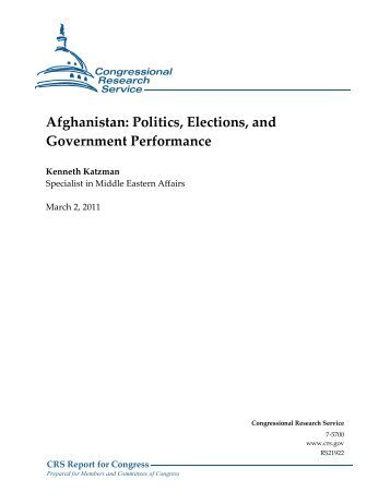 Afghanistan: Politics, Elections, and Government ... - The Air University