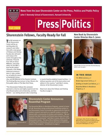 Fall 2009 - Joan Shorenstein Center on the Press, Politics and ...