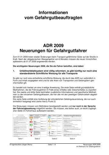 Informationen vom Gefahrgutbeauftragten ADR 2009 Neuerungen für