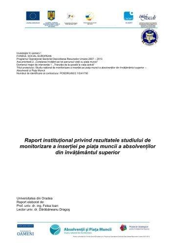 Raport instituțional privind rezultatele studiului de monitorizare a ...