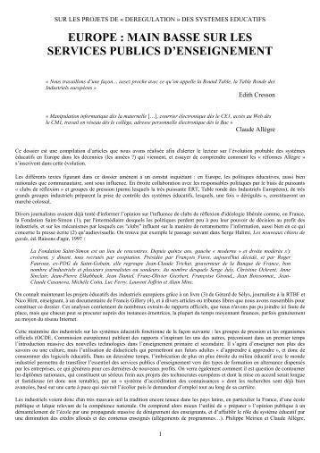 europe : main basse sur les services publics d ... - Claude Rochet