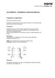 nora tillbehör - Installations rekommendationer