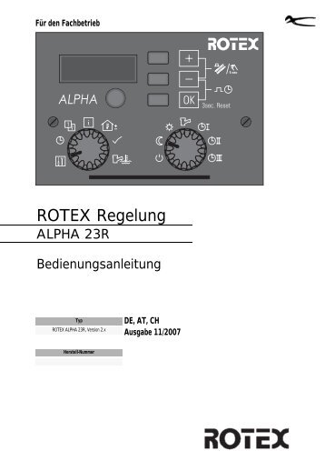 rotex alpha 23r - Rotex - ROTEX Heating Systems GmbH
