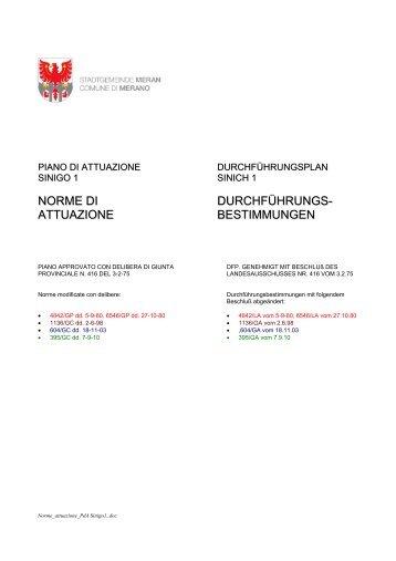 norme di attuazione durchführungs- bestimmungen - gis