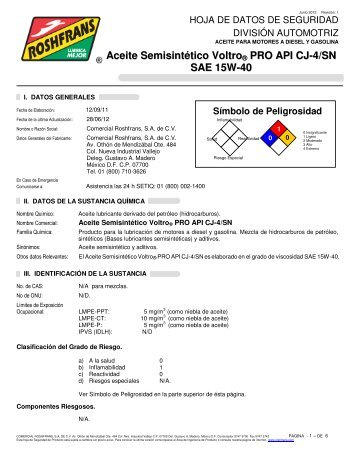 Aceite Semisintético Voltro ® PRO API CJ-4/SN SAE ... - Roshfrans