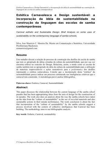 Estética Carnavalesca e Design sustentável: a incorporação da ...