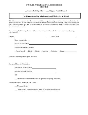 Parent/Physician's Forms for Administration of Medication