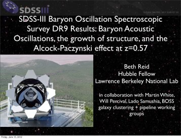 SDSS-III Baryon Oscillation Spectroscopic Survey DR9 Results ...