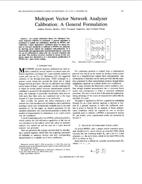 Multiport vector network analyzer calibration: a general formulation
