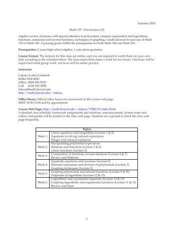 Course Syllabus - Mathematics