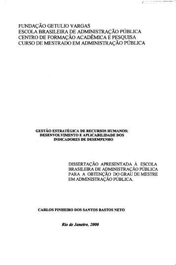 escola brasileira de administração pública curso de mestrado em ...