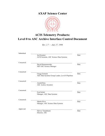 Level 0 to ASC Archive Interface Control Document - MIT