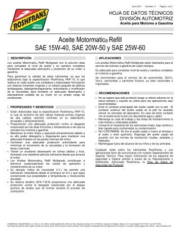 Aceite Motormatic® Refill SAE 15W-40, SAE 20W-50 y ... - Roshfrans