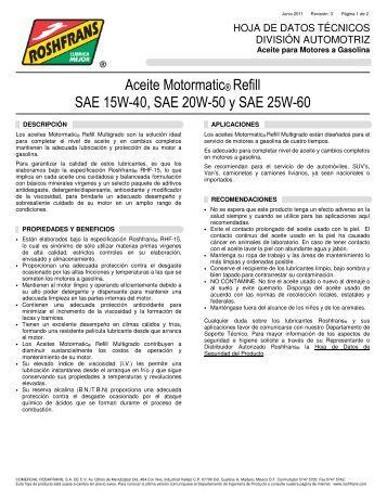 Aceite Motormatic® Refill SAE 15W-40, SAE 20W-50 y ... - Roshfrans