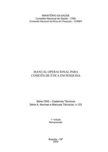MANUAL OPERACIONAL PARA COMITÊS DE ÉTICA EM PESQUISA