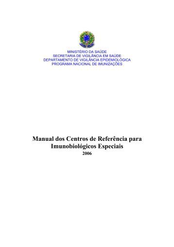 Manual dos Centros de Referência para Imunobiológicos Especiais