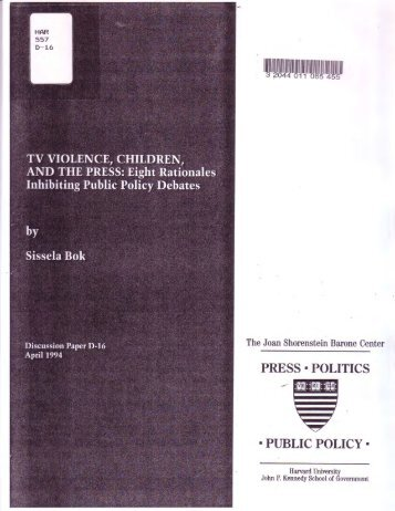 TV Violence, Children, and the Press - Joan Shorenstein Center on ...