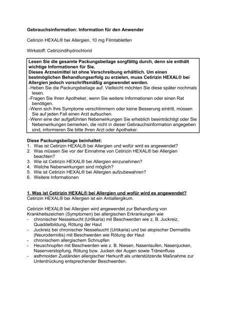 Gebrauchsinformation: Information für den Anwender