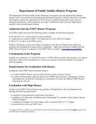 Department of Family Studies Honors Program