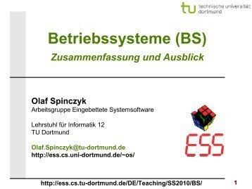 Bs 14 Zusammenfassung Und Ausblick Kurz Tu Dortmund