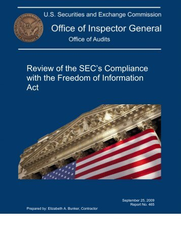 REPORT COVER - Securities and Exchange Commission - Office of ...