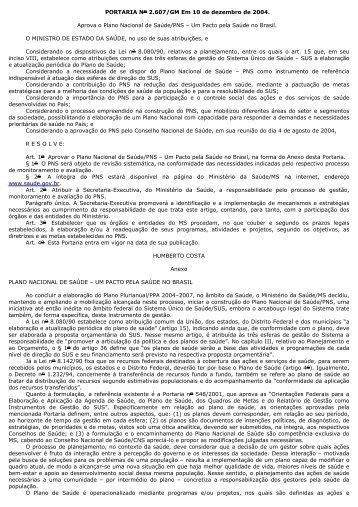 Plano Nacional de Saúde: um pacto pela saúde no Brasil