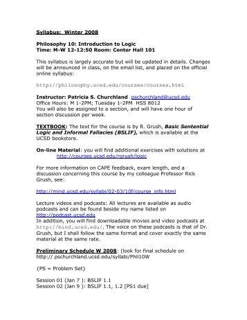 Detailed Syllabus (PDF) - Patricia Churchland