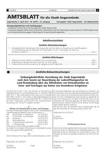 Amtsblatt für die Stadt Angermünde - Nr. 03/2012