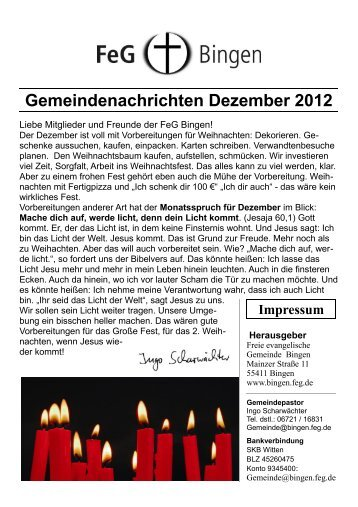 Gemeindenachrichten Dezember 2012 - FeG Bingen