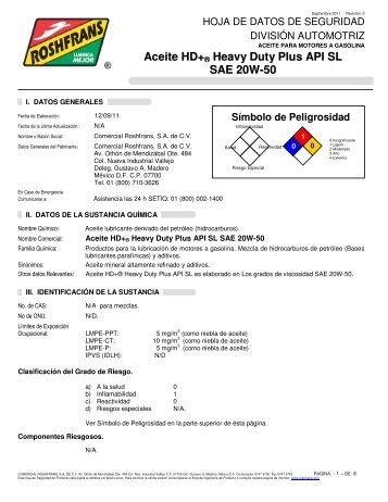 Aceite HD+ ® Heavy Duty Plus API SL SAE 20W-50 - Roshfrans