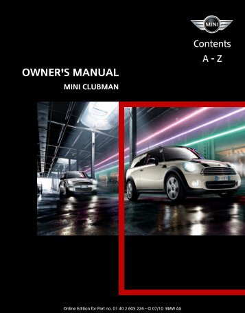 2011 Clubman Owner's Manual - Library of Motoring
