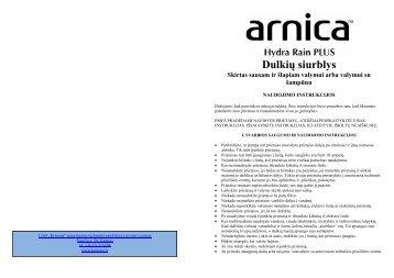ARNICA Hydra Rain Plus Dulkiu siurblys.pdf - UAB Krinona - prekių ...