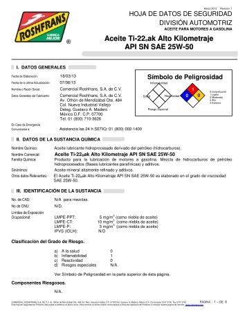 Aceite Ti-22 ®ak Alto Kilometraje API SN SAE 25W-50 - Roshfrans