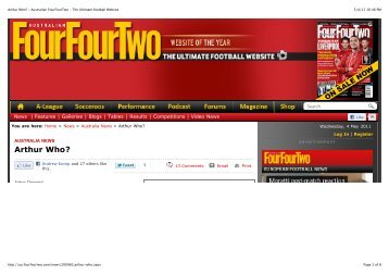 Arthur Who? - Australian FourFourTwo - The Ultimate football Website