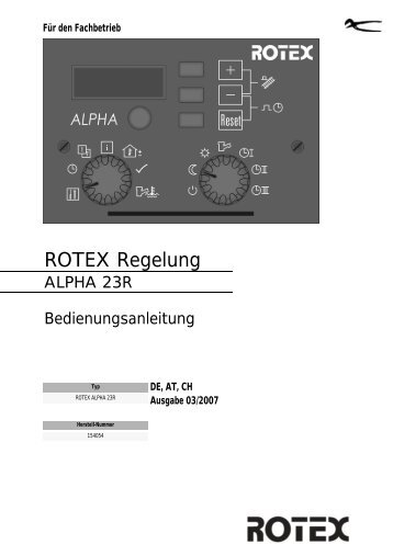 ROTEX Alpha 23R - ROTEX Heating Systems GmbH