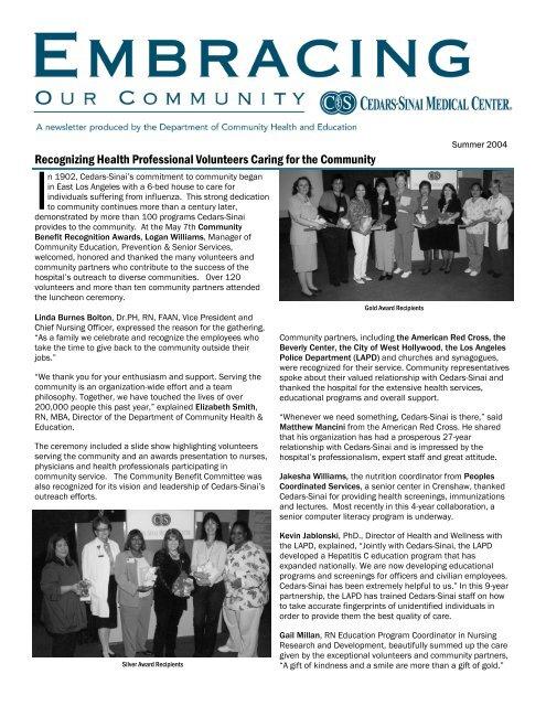 Recognizing Health Professional Volunteers Caring     - Cedars-Sinai