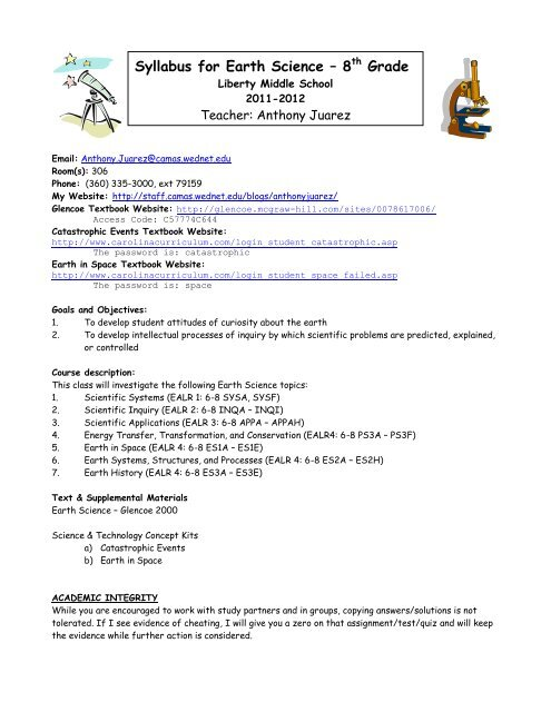 Syllabus For Earth Science 8th Grade Staff Portal Camas