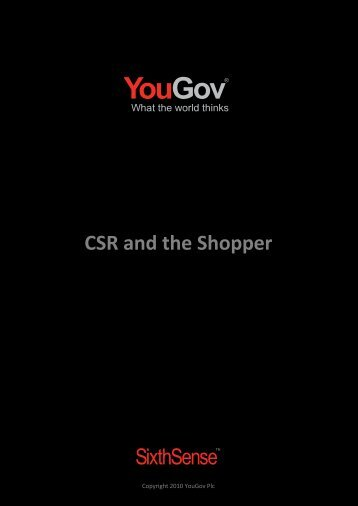 CSR and the Shopper - SixthSense - YouGov