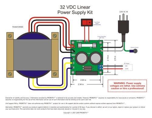 32 VDC Linear Power Supply Kit - Probotix