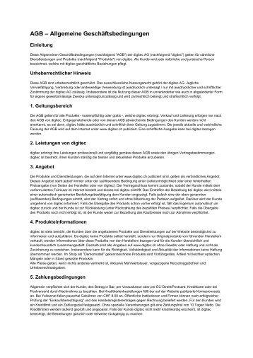 AGB – Allgemeine Geschäftsbedingungen