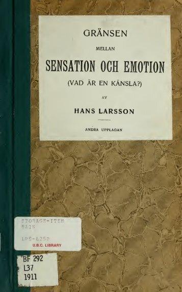 Gransen mellan sensation och emotion, av Hans Larsson