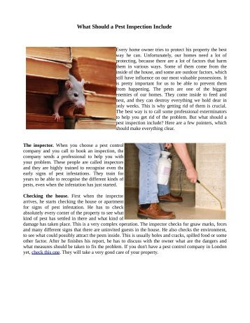 What Should a Pest Inspection Include