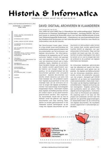 david: digitaal archiveren in vlaan de ren - KNAW Repository