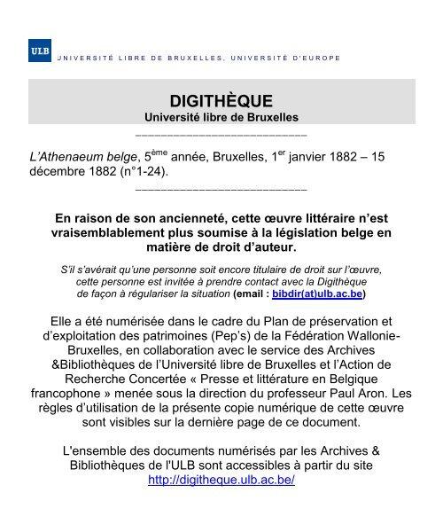 1882 - Université Libre de Bruxelles