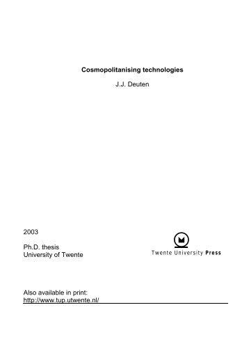 Cosmopolitanising technologies - Universiteit Twente