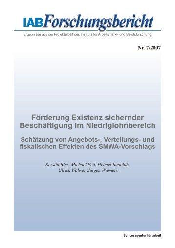 Förderung Existenz sichernder Beschäftigung im - IAB