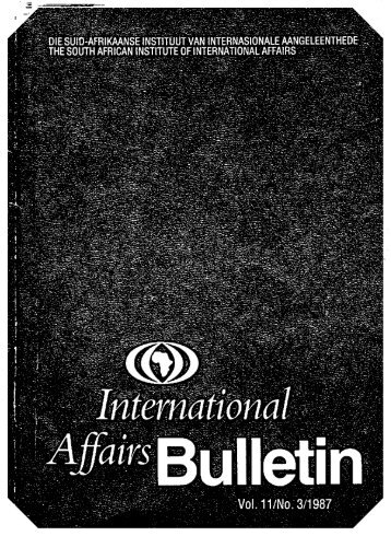SAIIA International Affairs Bulletin, vol. 11, no. 3, 1987